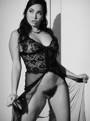 Karlee Grey is Sultry in Black in White While She Masturbates